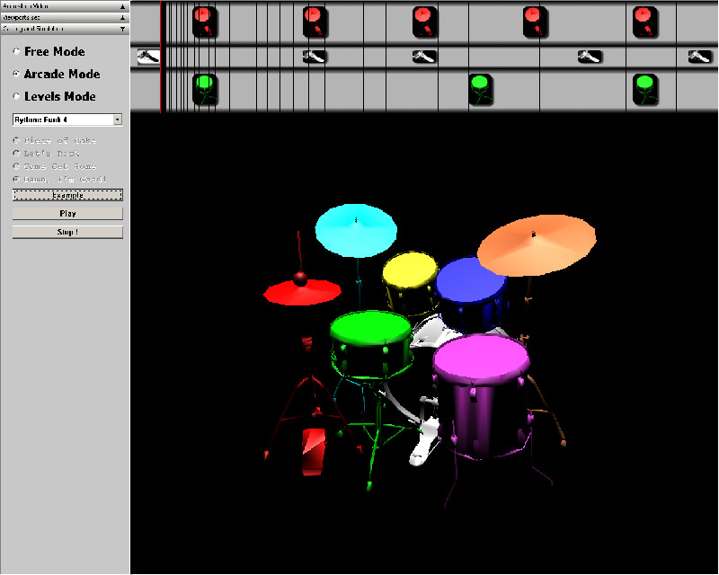 Virtual drums, video games mode (a la Dance Dance revolution)